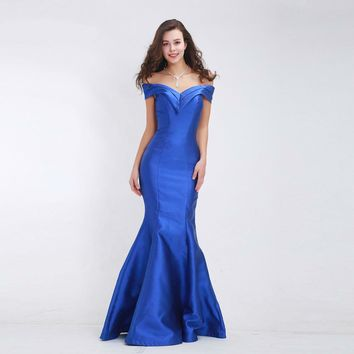 Elegant Mermaid Evening Dresses Boat Neck Simple Long Prom Party Gowns
