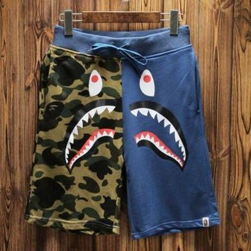 Bape Aape Shark Mouth Camouflage Color Matching Fashion Women Men Loose Shorts Blue