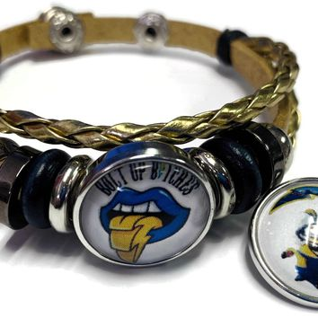 NFL Los Angeles LA Chargers Minion Gold Leather Bracelet W/2 Logo Snap Jewelry Charms New Item