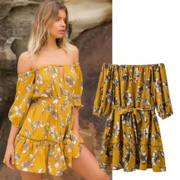 New fashion ladies yellow prints off shoulder summer dress