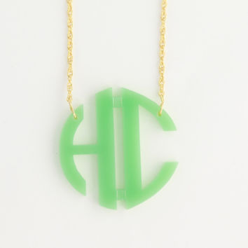 Monogrammed 2 Initial Circle Acrylic Necklace