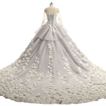 Pearls Beaded Handmade Flowers Appliques Sheer Boat Neck Buttons Back Ball Gown Lace Wedding Dresses