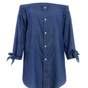 Streetstyle  Casual Off Shoulder Single Breasted Plain Denim Shift Dress With Tie Sleeve