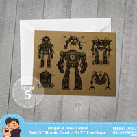 Robot Blank Cards, Set of 5 on Recycled Kraft Cards with 5x7 white envelopes, Note Cards for any occasion, Original Illustration