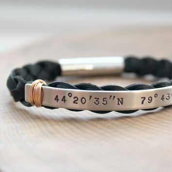 Men's Personalized Silver And Leather Longitude And Latitude Bracelet With Masculine Bronze Accent - John Bracelet