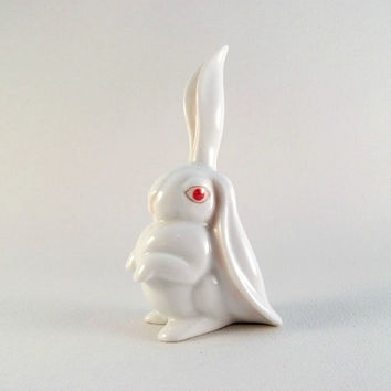 1976 Herend Porcelain White Rabbit - One Ear Up - 150th Anniversary Edition Handpainted