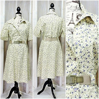 Vintage 60s dress / 1960s Cotton Floral House / Day Dress / Plus size 2X XXL size 16 / 22