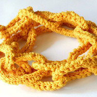 mustard yellow chain scarf, chunky crochet scarf, wool necklace