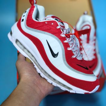 hcxx N345 Nike Air Max 98 20th Anniversary Casual Running Shoes Red White