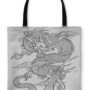 Tote Bag, Dragon Tattoo Illustration