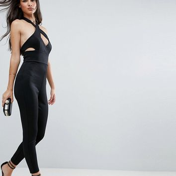 ASOS Jumpsuit with Cross Front In Bandage at asos.com