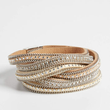 embellished faux suede wrap bracelet in tan | maurices
