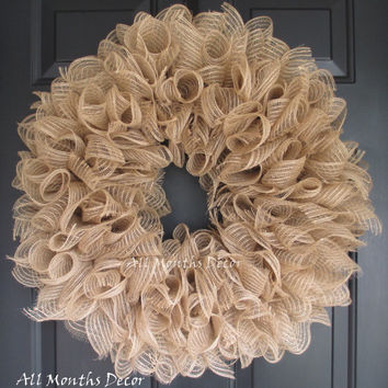 Natural Jute Spiral Deco Mesh Wreath