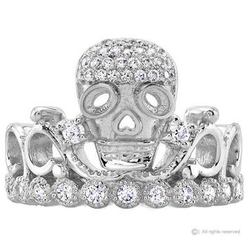Guliette Verona 14K White Gold Skull Crown Ring - AZSKR5456-14KWG