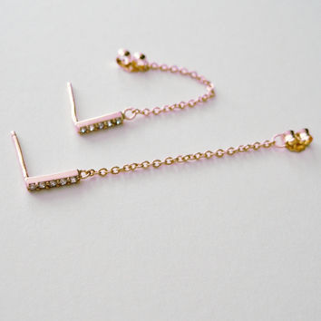 Crystal Pave Bar & Chain Earrings (Small/Indie Brands)
