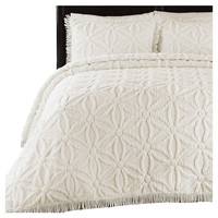 Twin size 100 Percent Cotton Chenille Bedspread in Ivory with Floral Circle Design