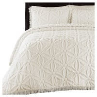 Full size 100% Cotton Chenille Bedspread in Ivory Beige Of-White Flower Pattern & Fringed Edges