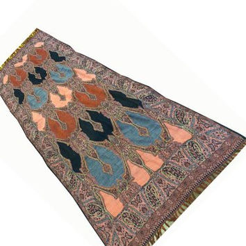 Women Wrap Shawl Multicolor Reversible Sequin Embroidered