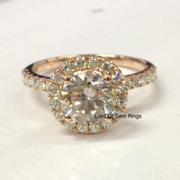 Round Moissanite Engagement Ring Pave Moissanite Wedding 14K Rose Gold 7mm  Solitaire