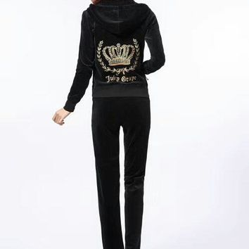 Juicy Couture Fashion Casual Long Sleeve Zipper Hoodie Long Pants J Velvet Two Piece Set Black G-ALNZ