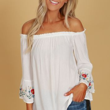 Embroidered Bell Sleeve Blouse Ivory