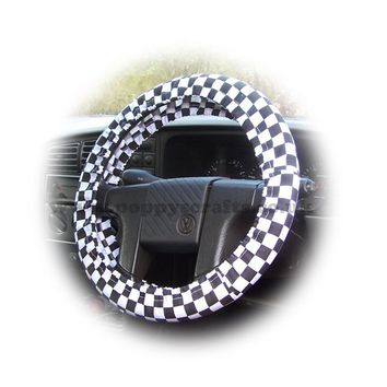 Black and White Check Cotton car steering wheel cover