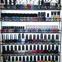 Metal Nail Polish Wall Display Rack Organizer Holds up to 102 Bottles. China Glaze OPI etc.