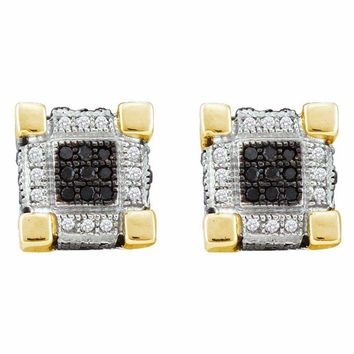 10kt Yellow Gold Mens Round Diamond 3D Cube Square Cluster Stud Earrings 1-4 Cttw - FREE Shipping (US/CAN)