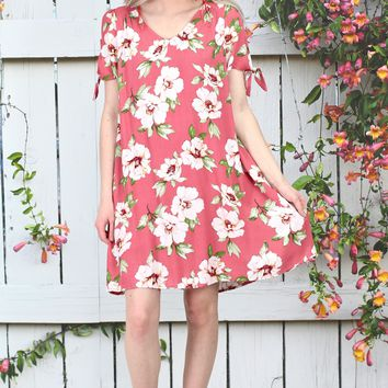 Maui Florals Tie Sleeve Printed Dress {Coral}