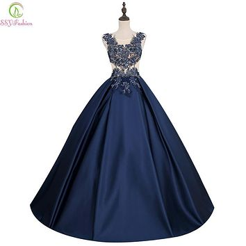 SSYFashion New Elegant Long Satin Evening Dress The Bride Banquet Dark Blue Lace Beading Sleeveless A-line Prom Dress Party Gown