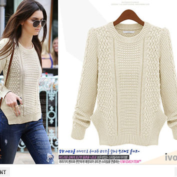 Twisted Split Knit Tops Pullover Sweater [9052555204]
