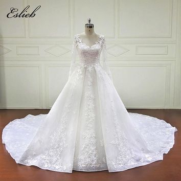 Beautiful A line Princess Wedding Dress Special Star Lace Appliques Long Sleeves Fairy Style Bridal Gown Sheer Button Back