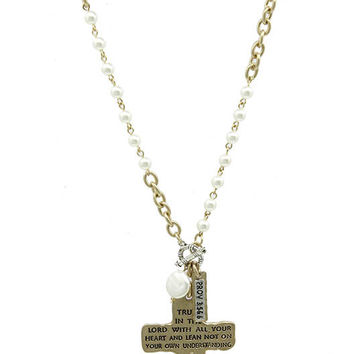 NECKLACE / HAMMERED METAL CROSS / PENDANT / MATTE FINISH / TWO TONE / PEARL / MESSAGE / PROVERBS 3 / LINK / CHAIN / TOGGLE CLOSURE / 16 INCH LONG / 3 INCH DROP / NICKEL AND LEAD COMPLIANT