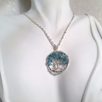 Petite Tree Of Life Necklace Apatite Pendant On Silver Chain Wire Wrapped Blue Semi Precious Gemstone Jewelry