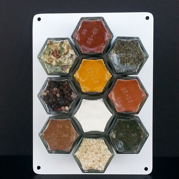 Magnetic Spice Rack, 50+ organic spices to choose from.  Wedding gift, graduation gift.  Keep your spices organized.  FREE SHIPPING