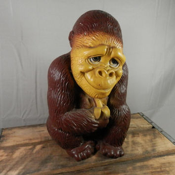 Vintage Gorilla Bank Large Monkey or Ape with Banana Piggy Bank from New York Vinyl Products