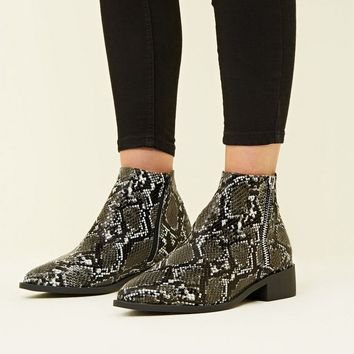 Wide Fit White Faux Snake Print Side Zip Ankle Boots | New Look