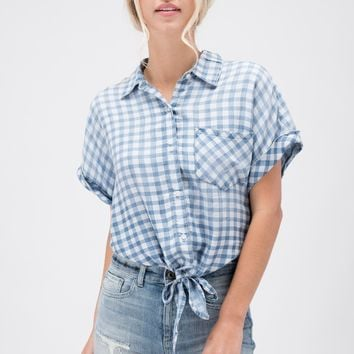 Blue Checkered Button Up Tie Top