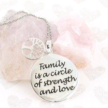 Family is a Circle of Strength and Love Necklace in Sterling Silver
