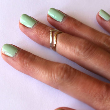Sterling silver and Brass knuckle rings, chevron stacking rings - midi rings, hammered, textured knuckle rings, silver rings