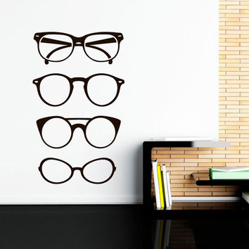 Hipster Glasses Wall Decal Sticker Eyewear Sunglasses Decals Interior Design Bedroom Dorm Minimalist Wall Art Hipster Room Decor C107