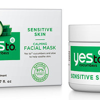 Yes To Cucumbers Calming Facial Mask for Sensitive Skin. 97% Natural ingredients