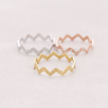 2016 Hot Fashion Vintage Handmade Gold Silver Rose gold Filled Zig Zag Band Thumb Ring EY-R032