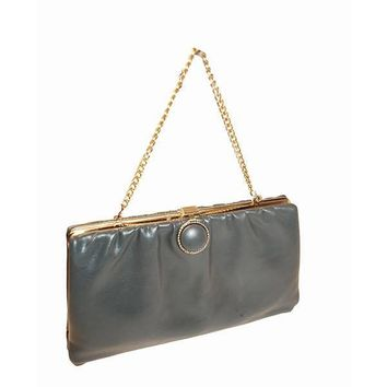 70s Cocktail Purse, Gray Leather, Gold Metal Chain
