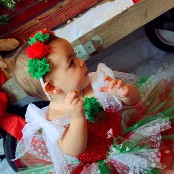 Christmas Tutu Dress, Red Green White Dress, Christmas Tutu, Holiday Dress, Outfit of Choice, Pageants, Flower Girl Dress
