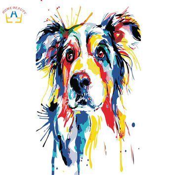 Diy oil painting paint by numbers canvas acrylic picture for living room wall art Modular wall drawing abstract dog R104