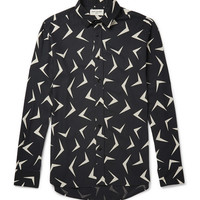 Saint Laurent - Boomerang-Print Silk Shirt | MR PORTER