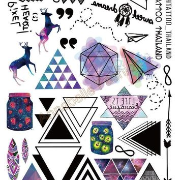 Tattoo Sticker Taty Body Art Temporary Colored Deer Triangle Arrow