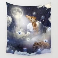 Shoot For The Moon (Giraffe In The Clouds) Wall Tapestry by Soaring Anchor Designs