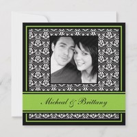Lime Green Damask Wedding Engagement Announcement